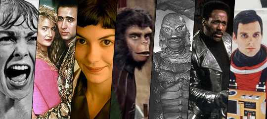 Psycho, Wild at Heart, Amelie, Planet of the Apes, Creature from the Black Lagoon, Shaft, and 2001: A Space Odyssey